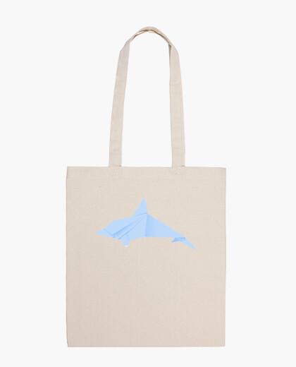 Delfín azul. Puedes aplicarlo sobre bolsa de tela color natural o negro