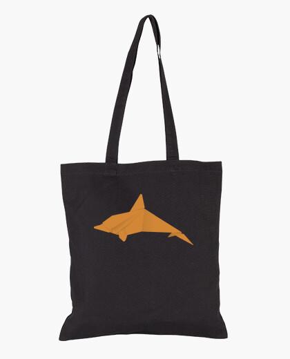 Delfín naranja. Puedes aplicarlo sobre bolsa de tela color natural o negro