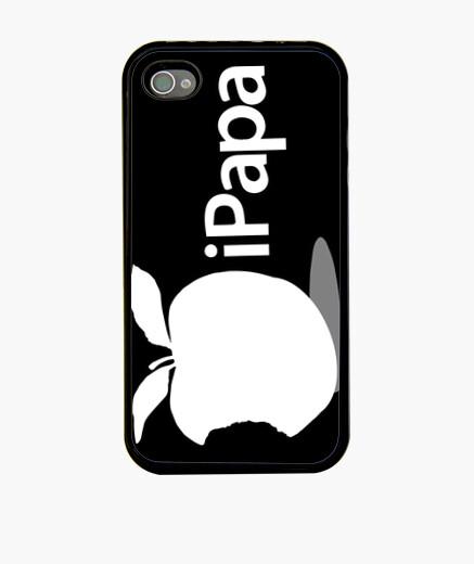 Funda iPhone Día del Padre - iPapa (blanco sobre negro)