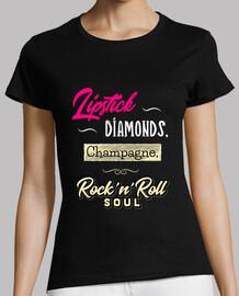 diamonds champagne lipstick t-shirt