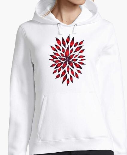 Jersey dibujo de doodle de flor roja abstracta