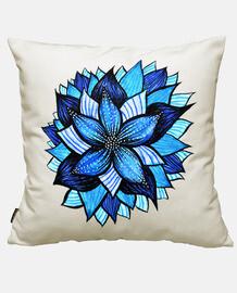 dibujo de tinta de flor azul abstracto