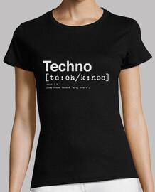 dictionnaire techno femme, manches courtes, noir, qualité premium