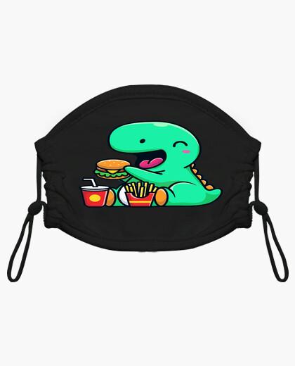 Mascarilla niño dinosaurio comiendo una...
