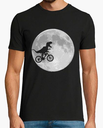 T-shirt dinosauro bicicletta e moon