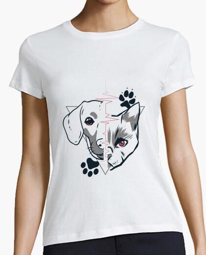 T-shirt disegno di amore faccia di cane e...