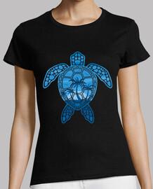 disegno tropicale della tartaruga mare dell'isola in blu