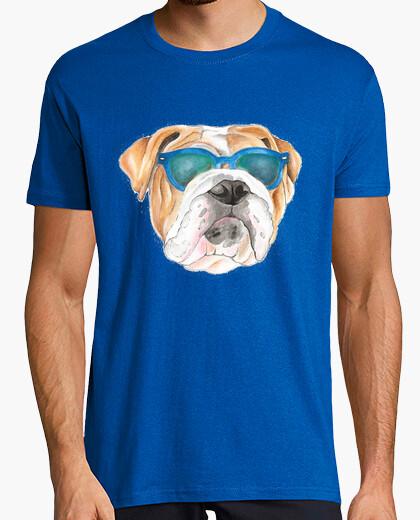 Camiseta Diseño bulldog gafas sol
