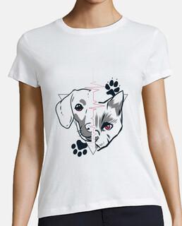 diseño de amor de cara de perro y gato
