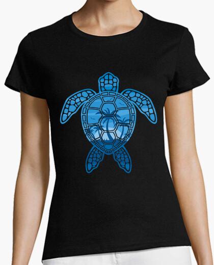 Camiseta diseño de tortuga marina de isla tropical en azul