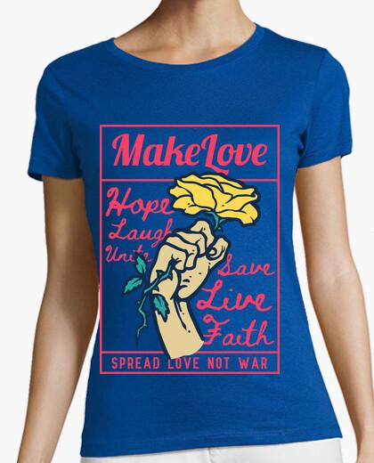 Camiseta Diseño Paz Amor Rosas Estilo Retro