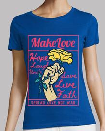 Diseño Paz Amor Rosas Estilo Retro