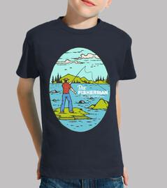 Diseño Retro Pescador Pesca Rio