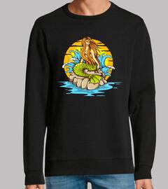 Diseño Tattoo Sirena Océano Mar Agua