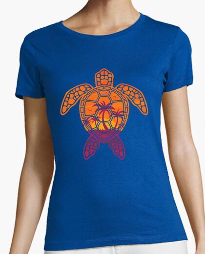 Camiseta diseño tropical de tortuga marina al at