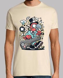 divertente cartoni animati t-shirt pappagallo divertente musicista