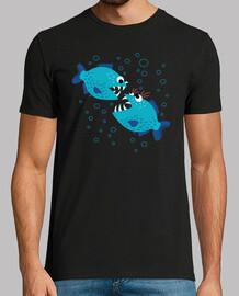 divertente pettegolezzo pesce piranha blu