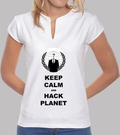 donna camicia mantenere la calma e incidere il pianeta