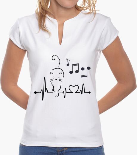 T-shirt Donna, colletto alla coreana, bianca