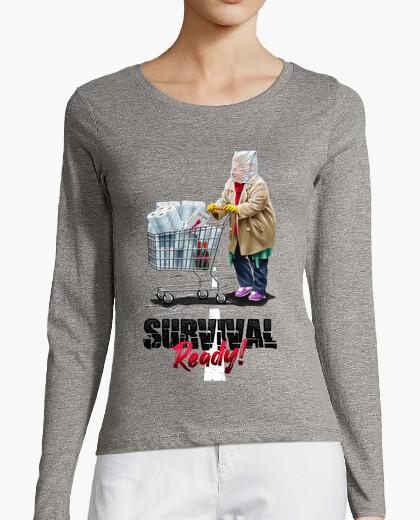 T-shirt donna manica lunga preparata per la sopravvivenza