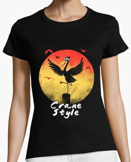 T-shirt donne della camicia di stile della gru