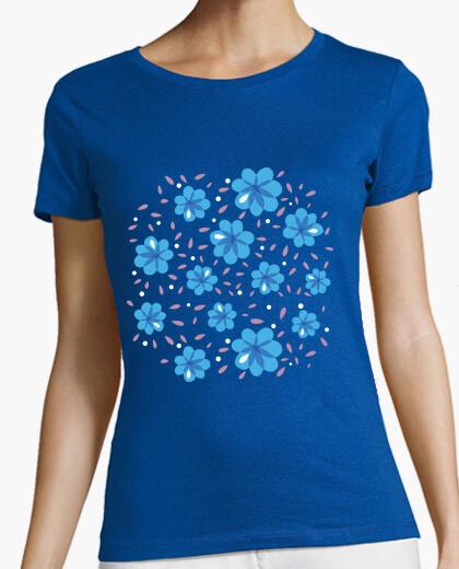 Tee-shirt douce bleu motif floral