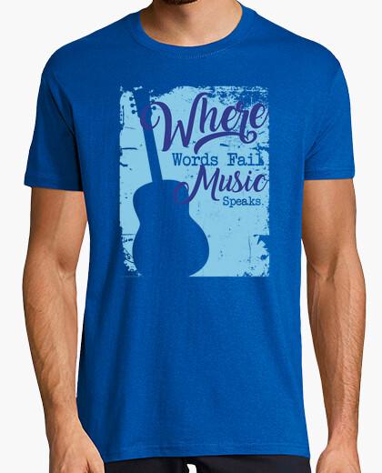 T-shirt dove le parole falliscono la musica parla la chitarra