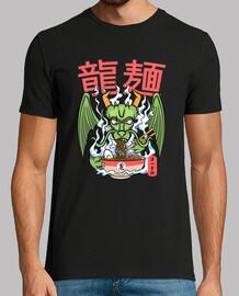 drago ramen noodles ciotola kawaii lucertola mostruosa t-shirt asiatica carina