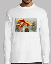 dragon de fuego/mangas largas /blanca