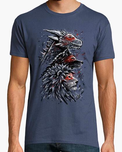 Camiseta dragón león lobo