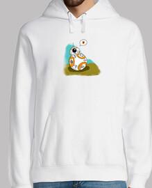 Droide Love - Hombre, jersey con capucha, blanco