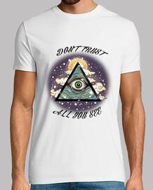 Dront Trust - Iluminati Blanco Hombre, manga corta, blanco, calidad extra