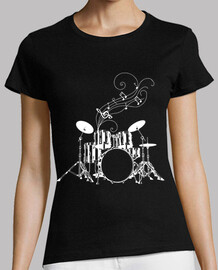 drummer music notes on white