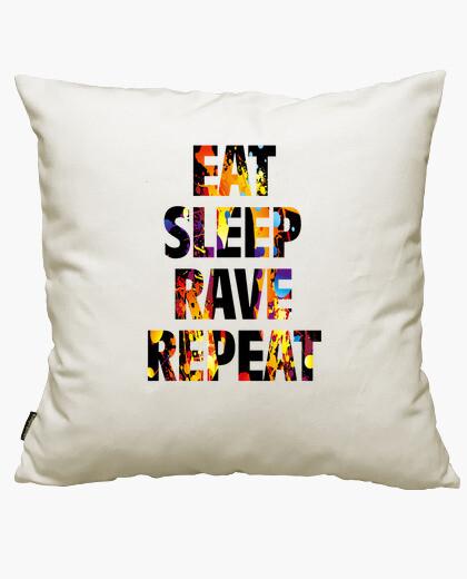 Funda cojín eat sleep rave repeat