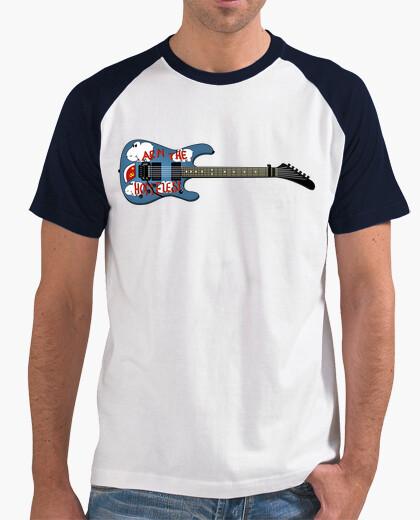 Camiseta efedefunko © ArmTheHomeless Guitar , Tom Morello R.A.T.M. - Hombre, estilo béisbol, blanca y azul ma
