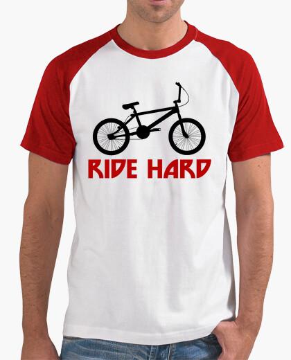 Camiseta efedefunko © BMX RideHard - Hombre, estilo béisbol, blanca y roja