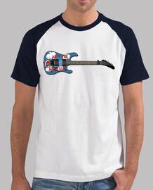 efedefunko © chitarra armthehomeless, tom morello ratm - uomo, stile baseball, bianca e blu navy
