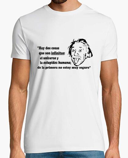 Camiseta Einstein, el universo y la estupidez humana