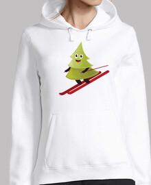 el esquí de pino feliz árbol sudadera con capucha