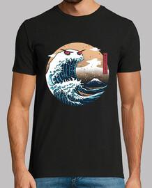 el gran monstruo de la camisa kanagawa para hombre
