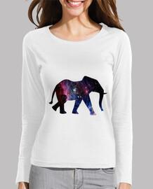 Elefante galaxia - camiseta manga larga mujer