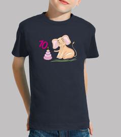 Elefante rosado del cumpleaños de 10 añ