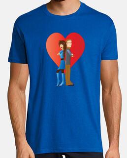 Elegante Camiseta azul oscuro para hombres Pareja de jóvenes enamorados