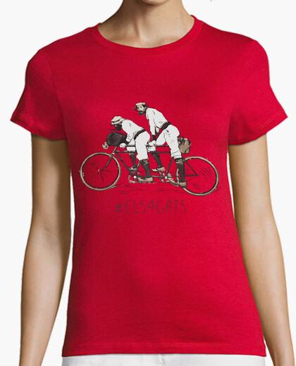 Camiseta Els 4 Gats - Mujer, manga corta, naranja, calidad premium