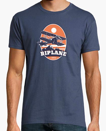 Camiseta Emblema de Avión Biplano Vintage
