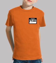 emmets camisa de los niños nametag
