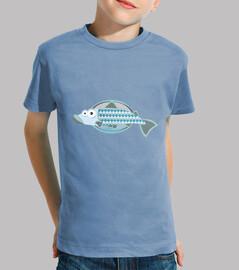 enfant de poisson, manches courtes, bleu clair