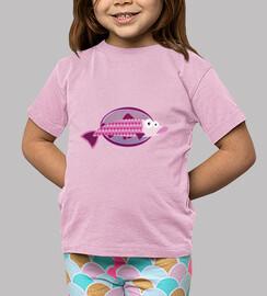 enfant de poisson, manches courtes, rose