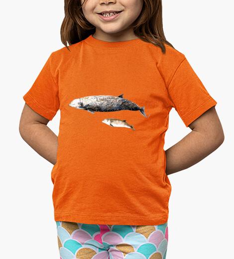 Vêtements enfant enfant, manches courtes, baleine à bec de cuvier d'orange