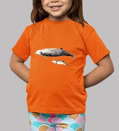 enfant, manches courtes, baleine à bec de cuvier d'orange